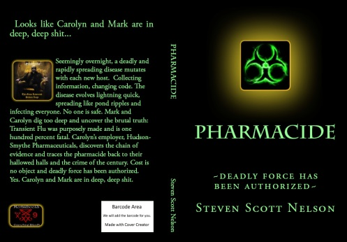 'click' on book cover image to get PHARMACIDE in Kindle and Print!